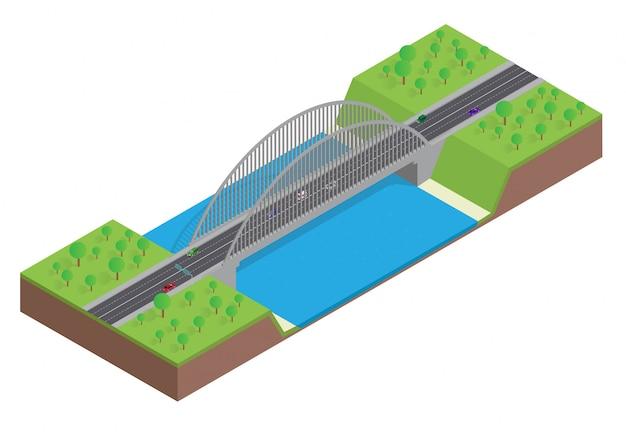 Isometrische autobahn auf der brücke über dem fluss Premium Vektoren