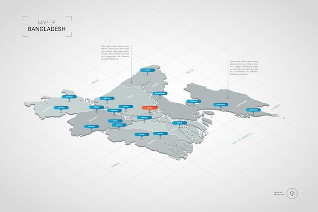 Isometrische bangladesch karte. Premium Vektoren