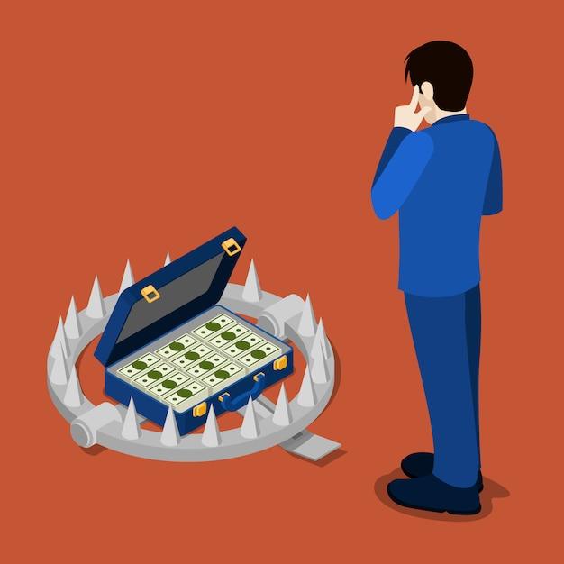 Isometrische bankfalle. bankkredit. geschäftsmann, der an gutschrift denkt. Premium Vektoren