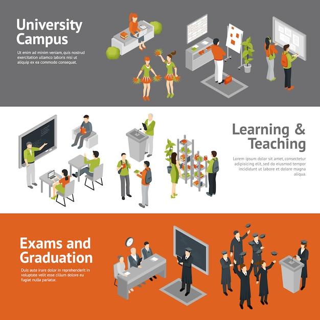 Isometrische banner der college-universität Kostenlosen Vektoren