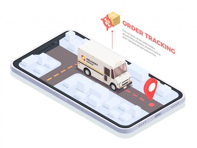 Isometrische begriffszusammensetzung der lieferungslogistik-sendung mit smartphoneschirm und lieferwagen mit paketen und textillustration Kostenlosen Vektoren