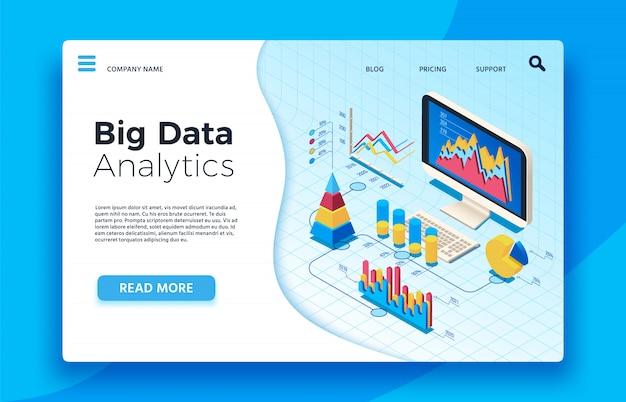 Isometrische big-data-analytik. analytisches infografik-statistik-dashboard. 3d Premium Vektoren