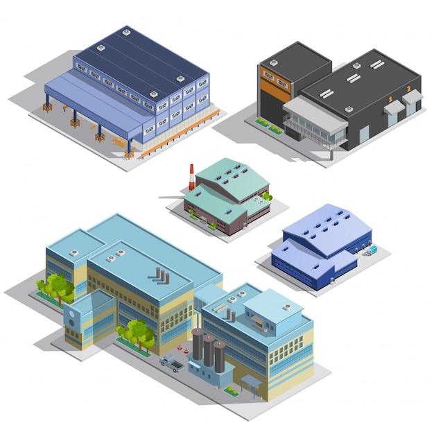 Isometrische bilder des fabrik-lagers eingestellt Kostenlosen Vektoren