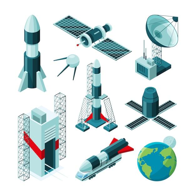 Isometrische bilder verschiedener werkzeuge und konstruktionen für das raumfahrtzentrum. Premium Vektoren