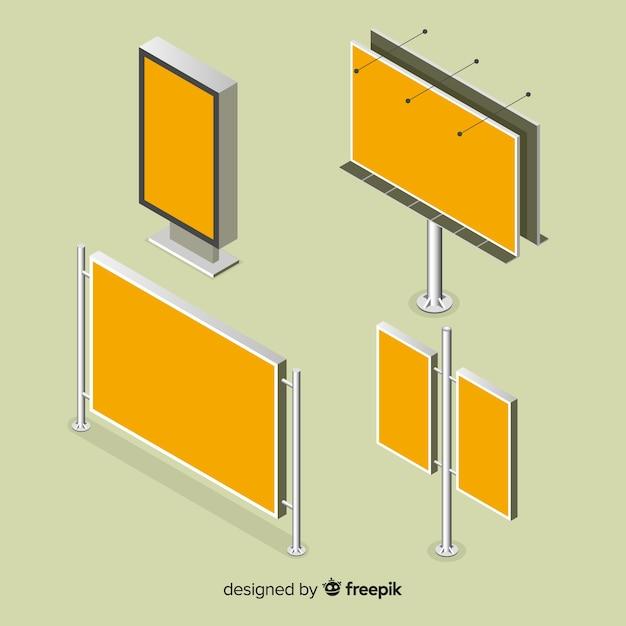 Isometrische billboard-auflistung Kostenlosen Vektoren