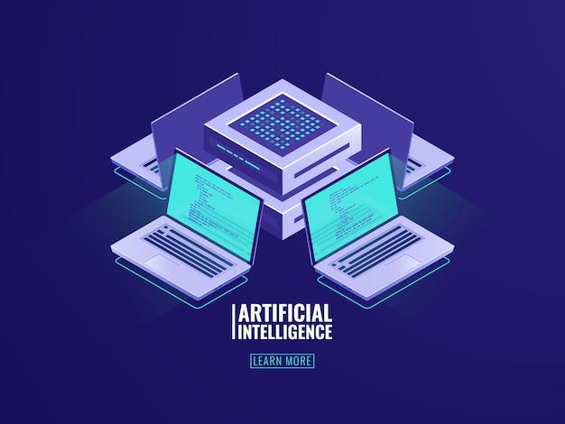Isometrische blockchain technologieikone, serverraumkonzept mit laptop und programmcode Kostenlosen Vektoren