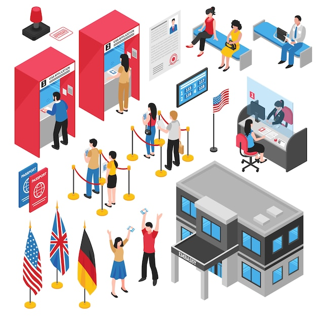 Isometrische botschaft visa center icon set Kostenlosen Vektoren