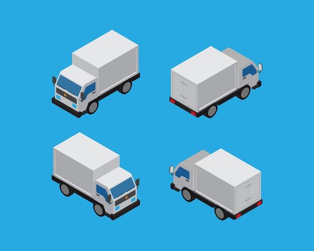 Isometrische box car vintage vector Premium Vektoren