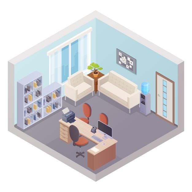 Isometrische büroeinrichtung mit chef-arbeitsplatzregalen für dokumente, kühler und zone für besucher Kostenlosen Vektoren