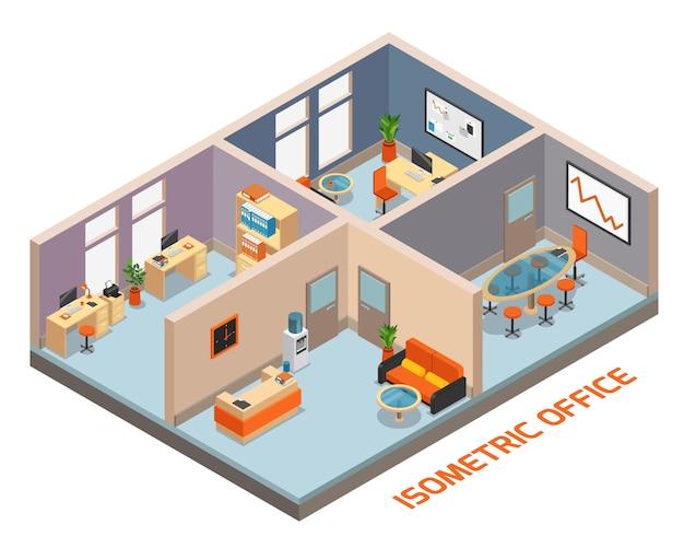 Isometrische büroinnenraumzusammensetzung mit vier raumarbeitsplatzruhe und wartezimmer-besprechungsraumvektorillustration Kostenlosen Vektoren