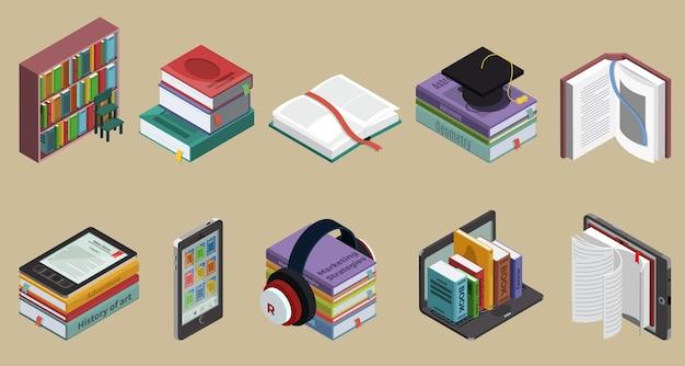 Isometrische bunte büchersammlung mit bücherregal-lehrliteratur und e-books auf verschiedenen geräten isoliert Kostenlosen Vektoren