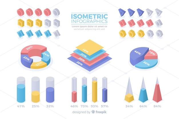 Isometrische bunte statistik-schablonensammlung Kostenlosen Vektoren