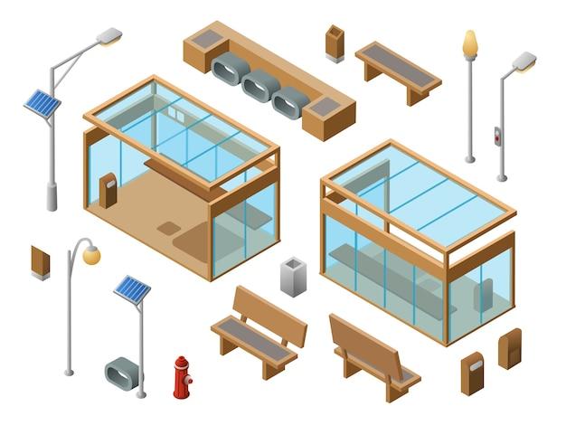 Isometrische Bus-Stopp-Objekte eingestellt. Glasstation der Stadt 3d bänke Sonnenpanel streetlights Kostenlose Vektoren