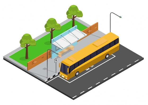 Isometrische bushaltestelle abbildung Premium Vektoren
