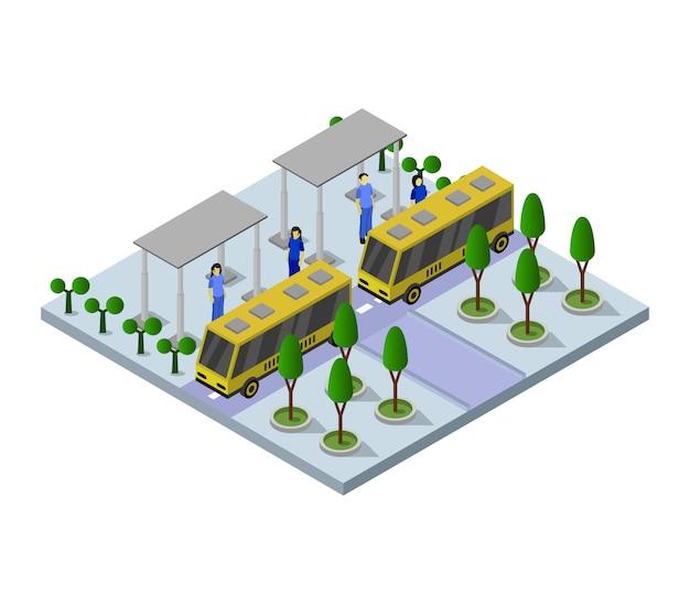 Isometrische bushaltestelle Kostenlosen Vektoren