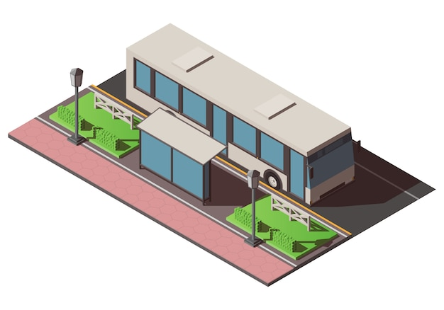 Isometrische bushaltestelle Premium Vektoren
