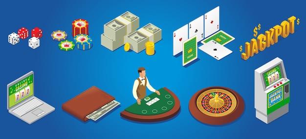 Isometrische casino-symbole mit würfel poker chips geld spielkarten jackpot online-glücksspiel geldbörse croupier roulette spielautomat isoliert Kostenlosen Vektoren
