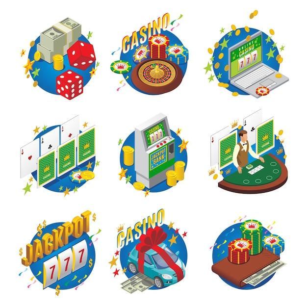 Isometrische casino-zusammensetzung mit blackjack-geldauto als gewinnspielautomat würfel brieftasche roulette jackpot online-spiel isoliert Kostenlosen Vektoren