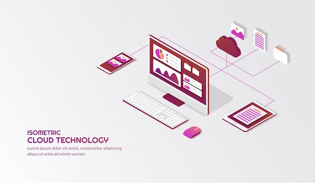 Isometrische cloud-speichertechnologie Premium Vektoren