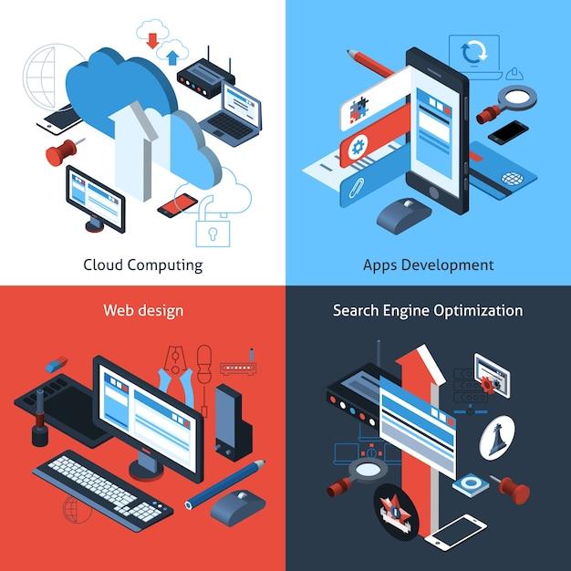 Isometrische computing-set Kostenlosen Vektoren