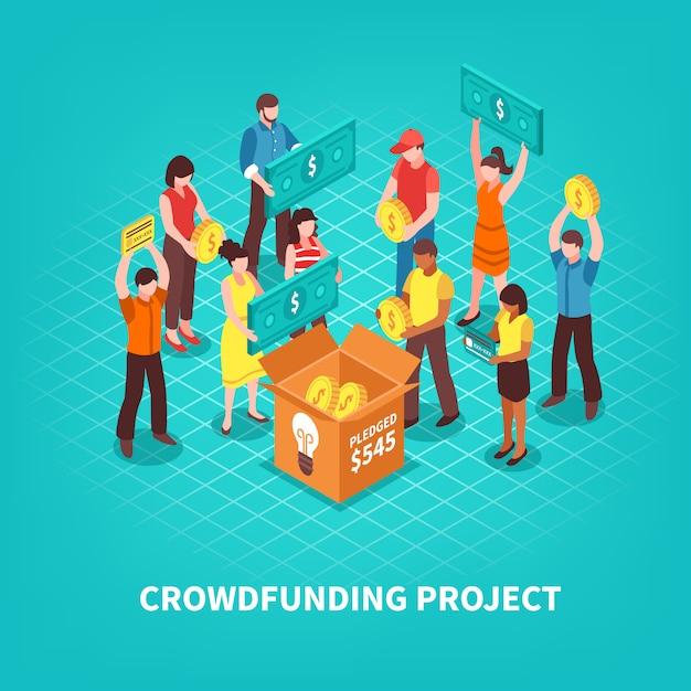 Isometrische crowdfunding-abbildung Kostenlosen Vektoren