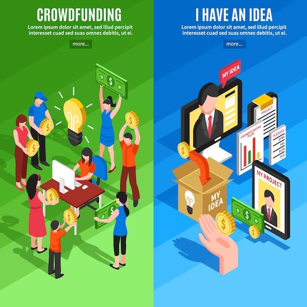 Isometrische crowdfunding-banner Kostenlosen Vektoren