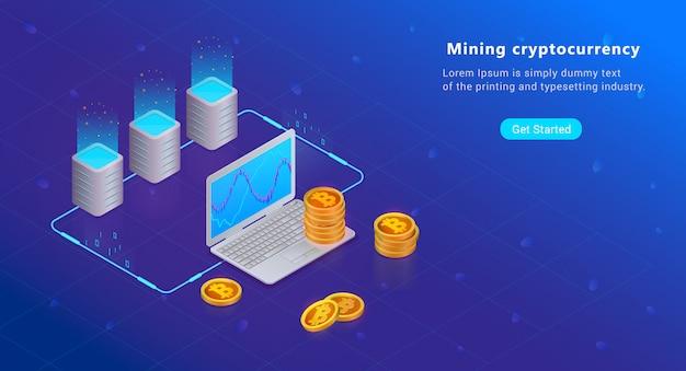 Isometrische cryptocurrency- und blockchain-konzept. bauernhof für den abbau von bitcoins. digitales geld m Premium Vektoren