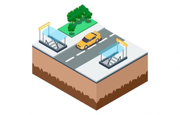 Isometrische darstellung der art und weise der untergrundbahn Premium Vektoren