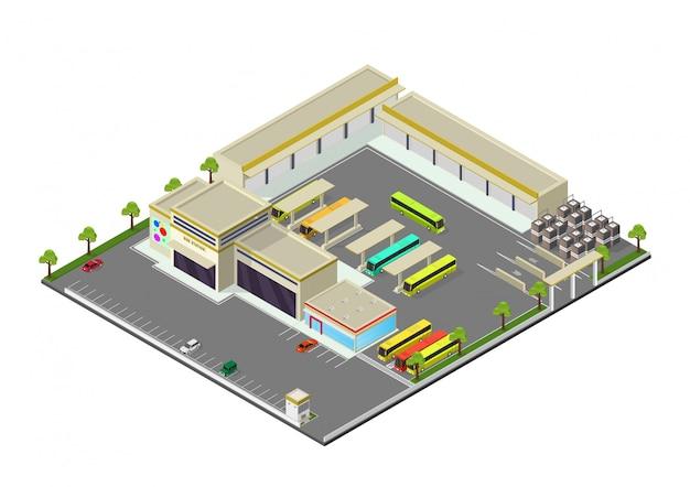 Isometrische darstellung der bushaltestelle Premium Vektoren