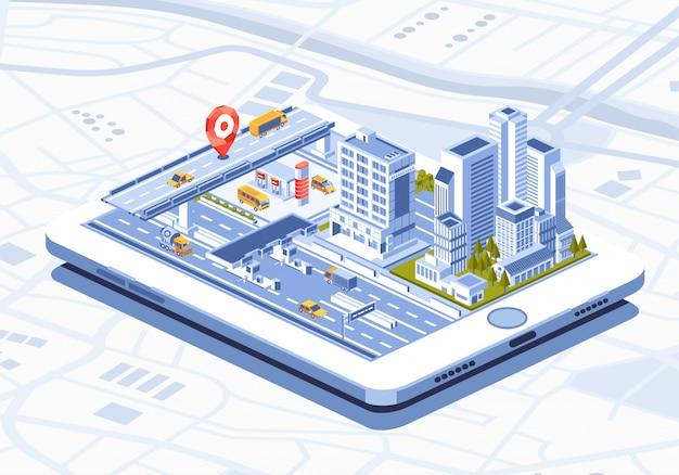 Isometrische darstellung der mobilen app der intelligenten stadt auf tablette Premium Vektoren