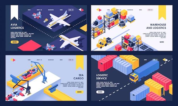 Isometrische darstellung der seefracht-, liefer- und lufttransport-landungswebseite für logistik- und lagerservice Premium Vektoren