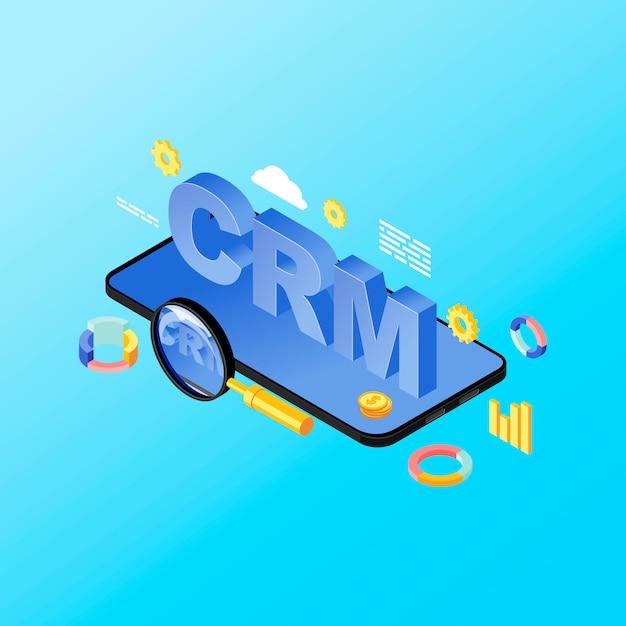 Isometrische darstellung der smartphone crm system app. kundenbeziehungsmanagement mobile anwendung, software. verkaufsmetriken, kundendatenanalyse auf telefon 3d konzept lokalisiert auf blauem hintergrund Premium Vektoren