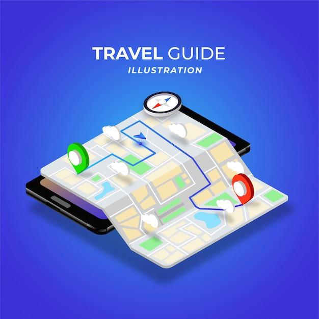 Isometrische darstellung des digitalen karten-tagesmodus des reiseführers Premium Vektoren