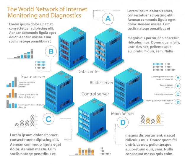 Isometrische darstellung des netzwerks Premium Vektoren