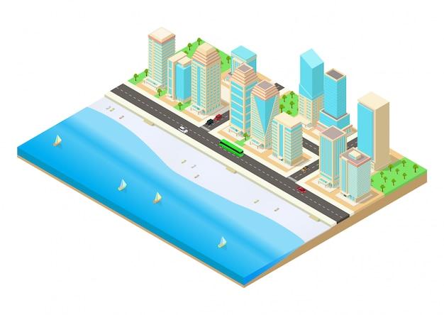 Isometrische darstellung einer stadt neben dem meer Premium Vektoren