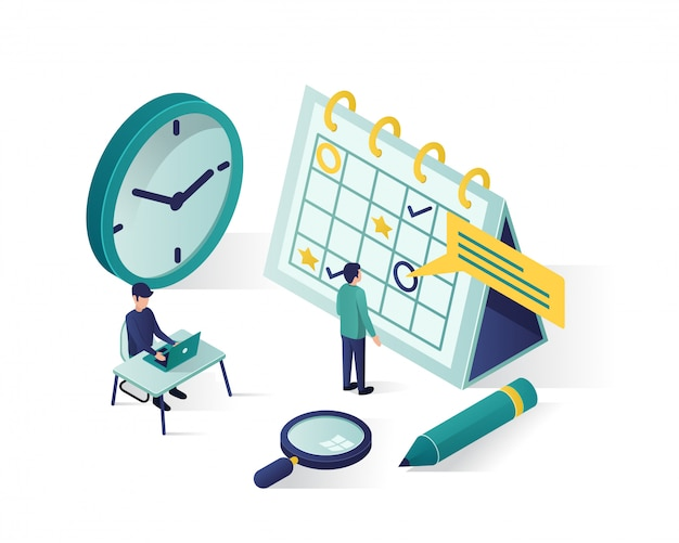 Isometrische darstellung. isometrische personen machen einen zeitplan im kalender. Premium Vektoren