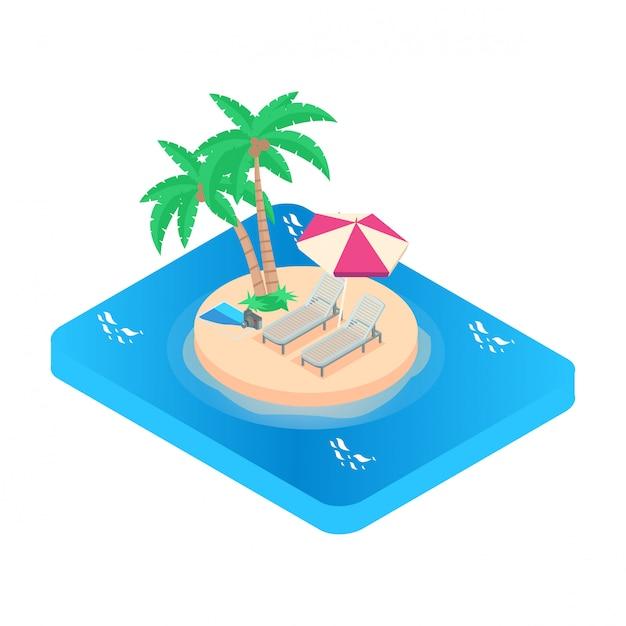 Isometrische darstellung vacation-symbol. türkisfarbenes meer Premium Vektoren