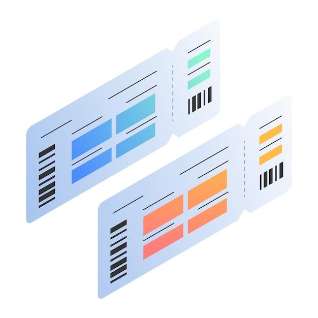 Isometrische darstellungen der bordkarte vorlage übergeben Premium Vektoren