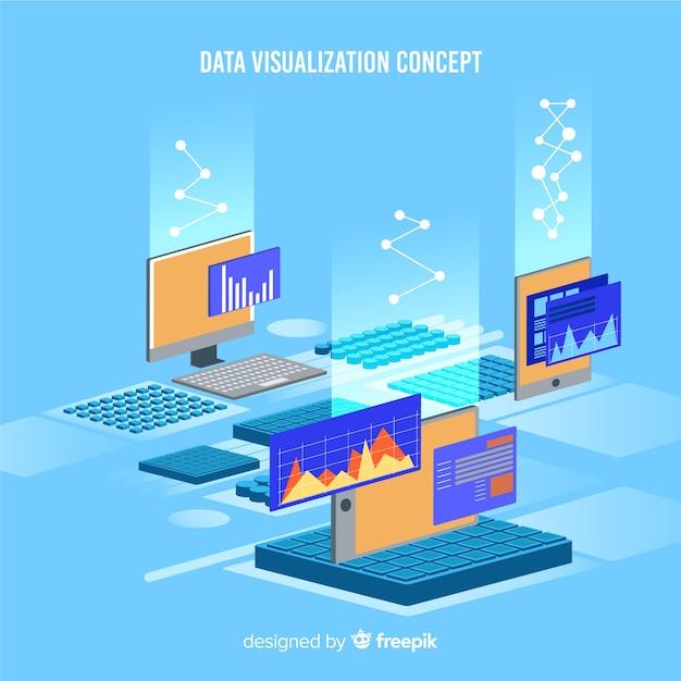 Isometrische datenvisualisierungsillustration Kostenlosen Vektoren