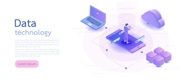 Isometrische digitaltechnik. isometrische vektor-illustration. Premium Vektoren
