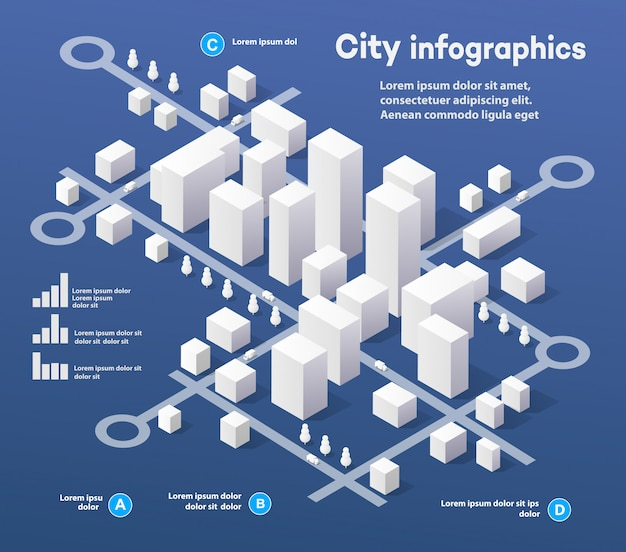 Isometrische dreidimensionale infografiken Premium Vektoren