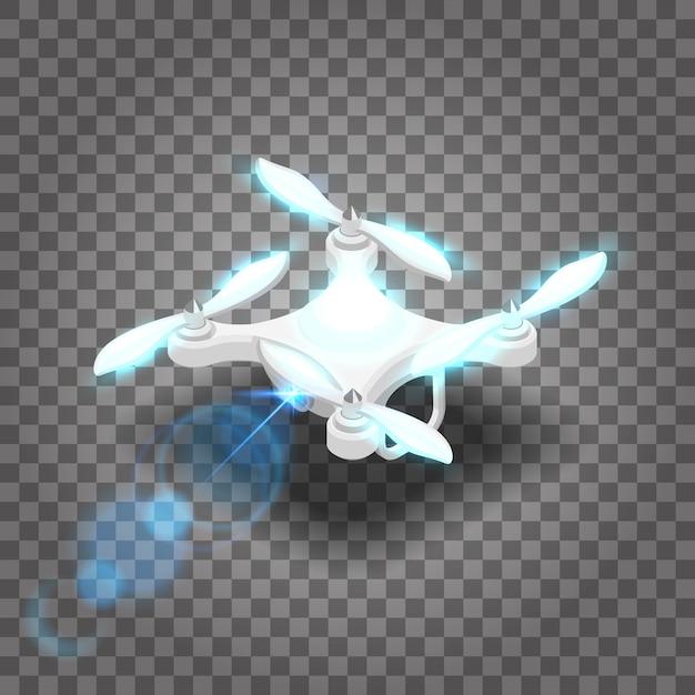 Isometrische drohne quadcopter 3d, fliegen im radio. Premium Vektoren