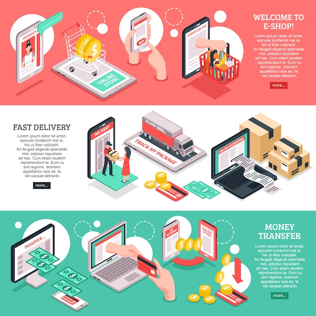 Isometrische e-commerce-banner festgelegt Kostenlosen Vektoren