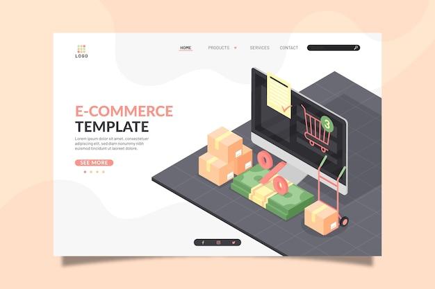 Isometrische e-commerce-landingpage Kostenlosen Vektoren
