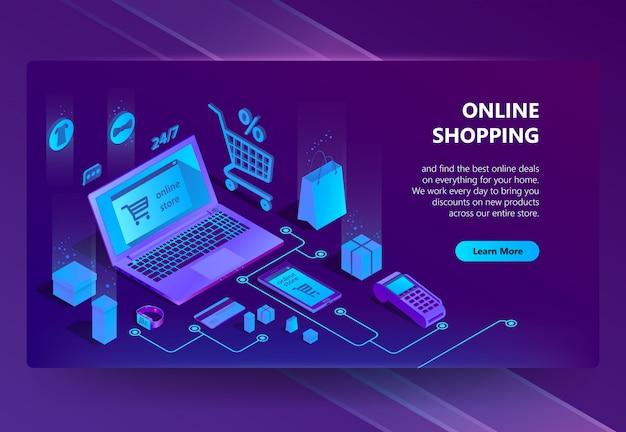 Isometrische e-commerce-website, online-shop Kostenlosen Vektoren