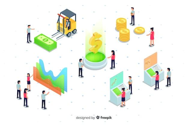 Isometrische e-wallet elemente und diagramme Kostenlosen Vektoren