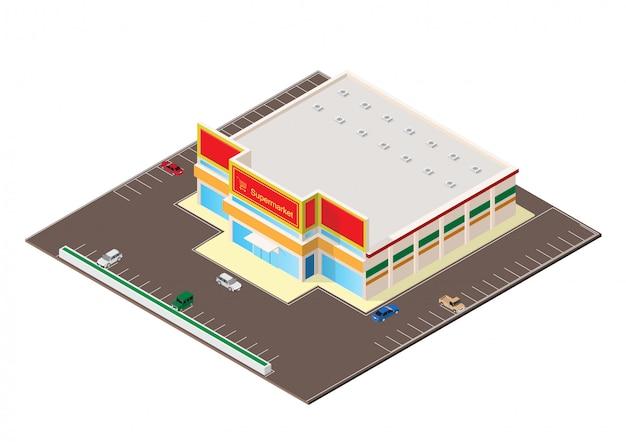 Isometrische einkaufszentrum- oder supermarktgebäudeikone Premium Vektoren