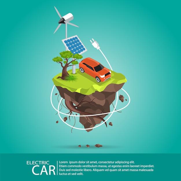 Isometrische elektroautos Premium Vektoren