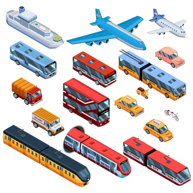 Isometrische elemente im personenverkehr Premium Vektoren