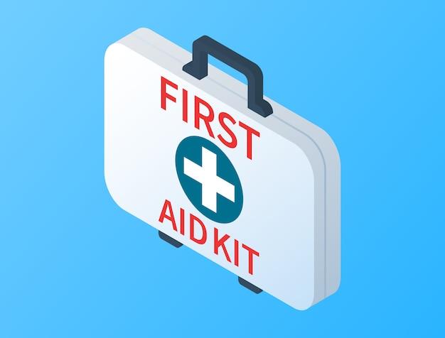 Isometrische erste-hilfe-kasten isoliert. ärztliche untersuchung. erste-hilfe-kasten mit medizinischer ausrüstung für den notfall Premium Vektoren